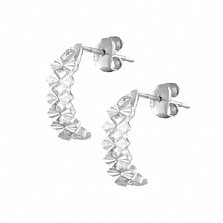 Серебряные серьги Беверли с алмазной насечкой