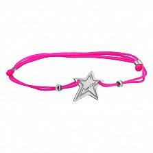 Шелковый браслет SuperStar с серебряной вставкой-звездой