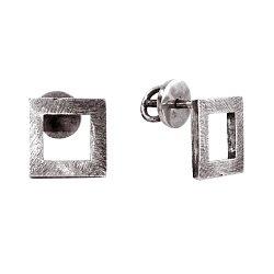Cеребряные серьги-пуссеты Square с чернением 000091384
