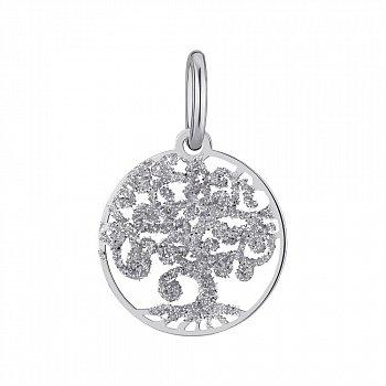 Серебряная подвеска с глиттером Древо жизни 000147385