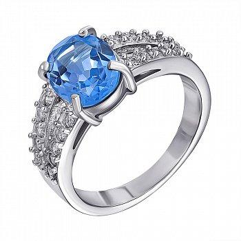 Серебряное кольцо с топазом и фианитами 000127215