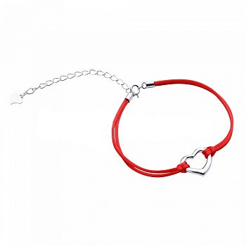 Браслет из серебра и шелковой красной нити Валентайн 000099319