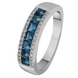 Золотое кольцо с бриллиантами и топазами Морское побережье