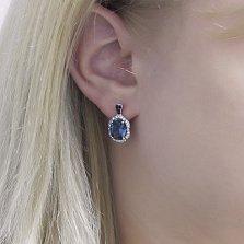 Серебряные серьги Юлианна с голубым кварцем, черными и белыми фианитами