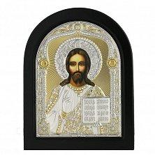 Икона на деревянной основе Иисус Спаситель с эмалью и позолотой, 12х17