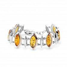 Серебряный браслет Медовое солнце с золотыми накладками и янтарем