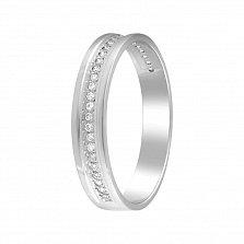 Обручальное кольцо Мечта в белом золоте с дорожкой бриллиантов