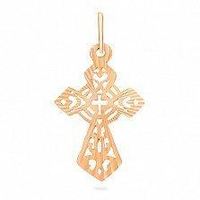 Крестик из красного золота Солнечный