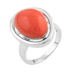 Серебряное кольцо с красным кораллом 000074125