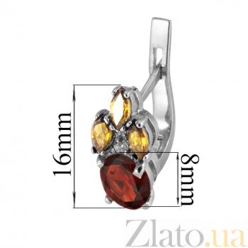 Серебряные серьги с красным и жёлтым цирконием Ульяна Ульяна с/кр-жёл цир