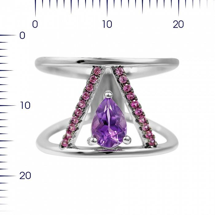 Серебряное кольцо Виктори с аметистом и фиолетовыми фианитами 000081647