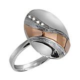 Серебряное кольцо с золотой вставкой и фианитами Милан