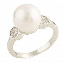 Серебряное кольцо Видана с жемчугом и фианитами