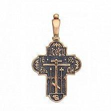 Золотой крест с чернением Небесный ангел