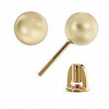 Золотые серьги-пуссеты Коломбина с жемчугом цвета шампань