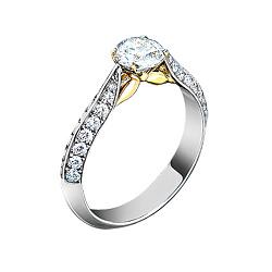 Золотое кольцо с аквамарином и бриллиантами Грани неизвестного 000029664