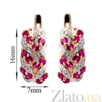 Золотые серьги Колосок в красном цвете с рубинами и бриллиантами ZMX--ER-15431_K