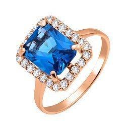 Золотое кольцо Поллиана в красном цвете с топазом лондон и фианитами