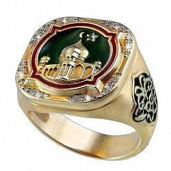 Золотой перстень-печатка Мусульманский с мечетью и фианитами 000095770