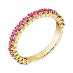 Золотое кольцо в жёлтом цвете с рубинами 000018985