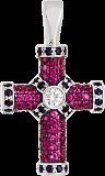Золотой крест с сапфирами и рубинами Абсолют
