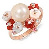 Золотое кольцо с агатами, жемчугом, гранатом, топазом, перламутром и бриллиантами Бриония