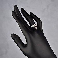 Серебряное кольцо Замочек с фианитами и подвеской в стиле Луи Виттон