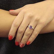 Серебряное кольцо Бриджит с аметистом и фианитами