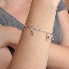 Двойной серебряный браслет Нежность природы с подвесками-листьями