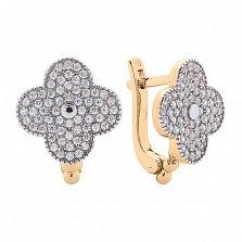 Позолоченные серебряные серьги Лав с белым цирконием в родированных крапанах в стиле Ван Клиф