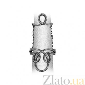 Серебряное кольцо с фианитами на две фаланги Али 000026550