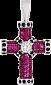 Золотой крест с сапфирами и рубинами Абсолют VLN--124-1542