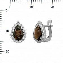 Серебряные серьги Сусанна с раухтопазом и фианитами