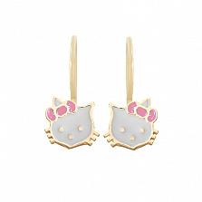 Золотые серьги с цветной эмалью Hello Kitty