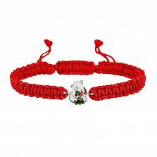 Детский плетеный браслет Мишка с букетом с эмалью 10-8см