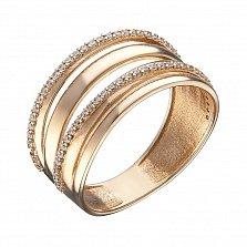 Кольцо в красном золоте Татьяна с фианитами