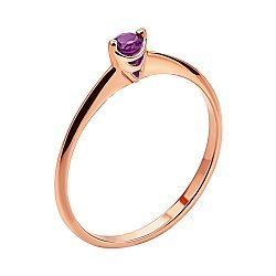 Кольцо из красного золота с аметистом 000136158