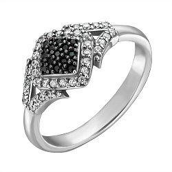 Серебряное кольцо с дорожками, белыми и черными фианитами 000096349