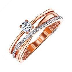 Золотое кольцо в комбинированном цвете с фианитами 000119389
