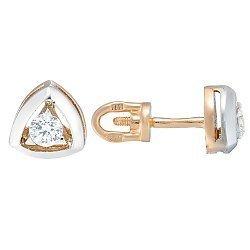 Золотые серьги-пуссеты с цирконием 000013770