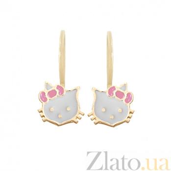 Золотые серьги с цветной эмалью Hello Kitty LEL--90119
