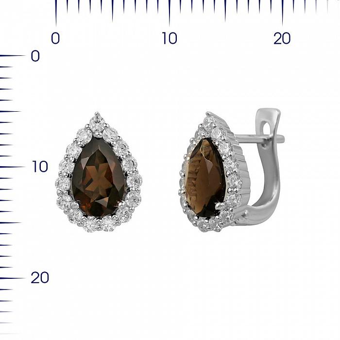 Серебряные серьги Сусанна с раухтопазом и фианитами 000081874