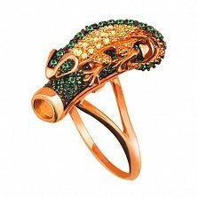 Кольцо из красного золота Хамелеон с фианитами