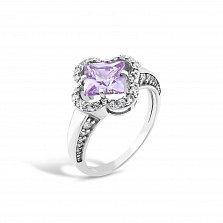 Серебряное кольцо Иванна с фиолетовым и белыми фианитами
