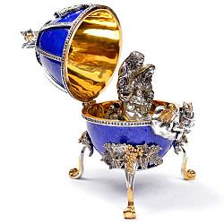 Дизайнерское серебряное яйцо с сапфирами, позолотой и синей эмалью 000004306