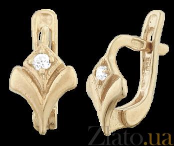 Позолоченные серебряные серьги с цирконием Victory SLX--С3Ф/022