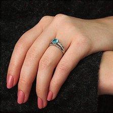 Серебряное кольцо Теолла с голубым кварцем и фианитами