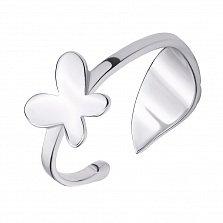 Серебряное разомкнутое кольцо Невесомая бабочка
