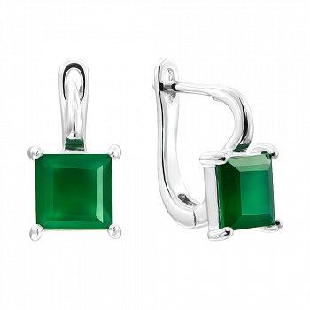 Серебряные серьги с зеленым агатом 000135248