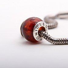 Шарм из вишневого янтаря с внутренней гравировкой Китайский дракон на серебряной основе